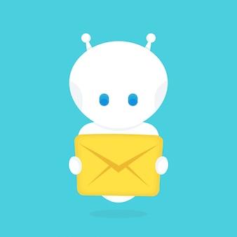 Leuke gelukkig lachend grappige robot chat bot met met nieuwe brief, bericht. platte cartoon characterdesign illustratie. geïsoleerd op een witte achtergrond. slim robot robotconcept