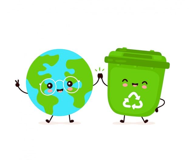 Leuke gelukkig lachend prullenbak en planeet van de aarde. platte cartoon characterdesign illustratie. geïsoleerd op een witte achtergrond. recycling van afval, gesorteerd afval, het concept aarde redden