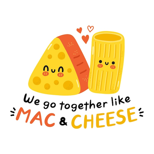 Leuke gelukkig lachende macaroni en kaas. mac en kaasconcept. geïsoleerd op een witte achtergrond. vector cartoon characterdesign illustratie, eenvoudige vlakke stijl. we gaan samen als mac en kaas kaart