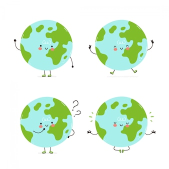 Leuke gelukkige aarde planeet tekenset collectie. geïsoleerd op wit. vector cartoon karakter illustratie ontwerp, eenvoudige vlakke stijl. earth lopen, trainen, denken, mediteren concept