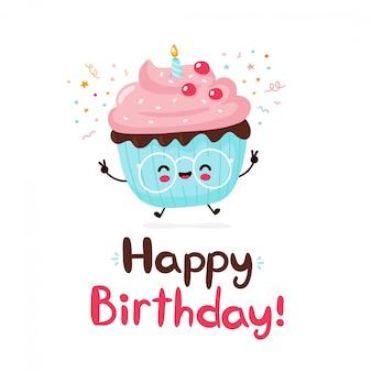 Leuke gelukkige cupcake. gelukkige verjaardag hand getekend stijl kaart.
