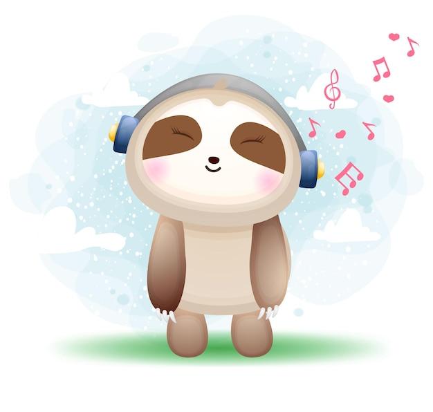 Leuke gelukkige doodle luiaard luisteren muziek stripfiguur