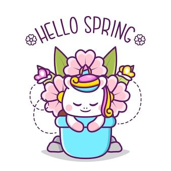 Leuke gelukkige eenhoorn in pot met bloemen