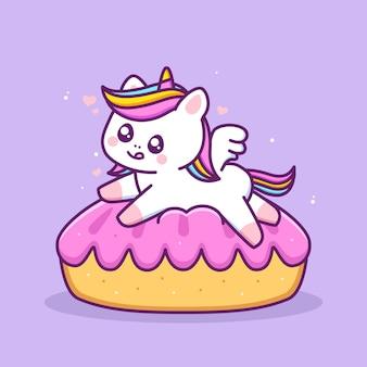 Leuke gelukkige eenhoorn spelen in de taartcake