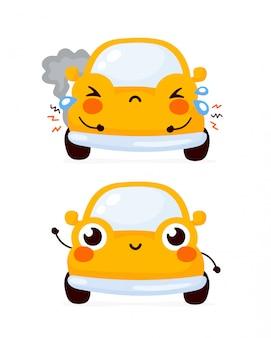 Leuke gelukkige en droevige gebroken gele automobiele auto.
