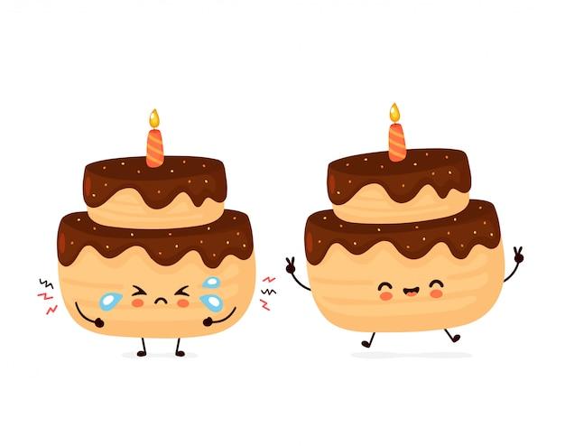 Leuke gelukkige en droevige schreeuw gelaagde verjaardagspartijcake met één kaars.