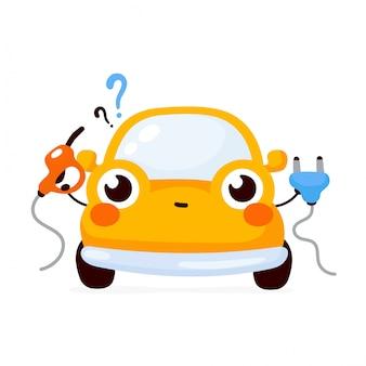 Leuke gelukkige gele automobiele auto die tussen gas en elektrisch kiezen. platte cartoon karakter illustratie pictogram. geïsoleerd op wit. auto karakter