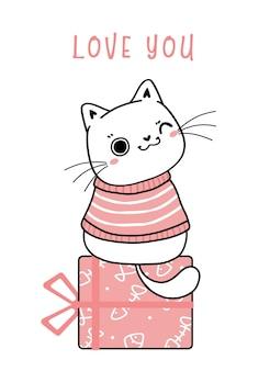 Leuke gelukkige glimlach kitten witte dikke kat in winter roze kleding zitten op huidige doos cartoon platte vector hand getekende illustratie schets