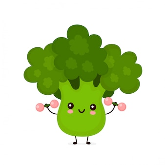 Leuke gelukkige glimlachende broccoligroente met dumbells.