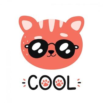 Leuke gelukkige glimlachende koele kat in zonnebrilkarakter.