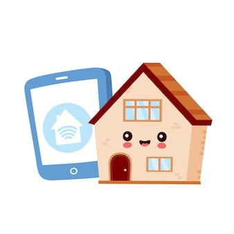 Leuke gelukkige glimlachende slimme huis en smartphone.