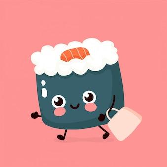 Leuke gelukkige glimlachende sushi, broodje dat met zak wordt uitgevoerd. hand tekenen stijl illustratie kaart desgin. geïsoleerd op wit. aziatische, japanse, chinese gerechten snelle levering