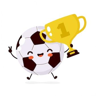 Leuke gelukkige glimlachende voetbalbal met gouden trofeekarakter. platte cartoon afbeelding pictogram. geïsoleerd op wit. voetbal bal karakter