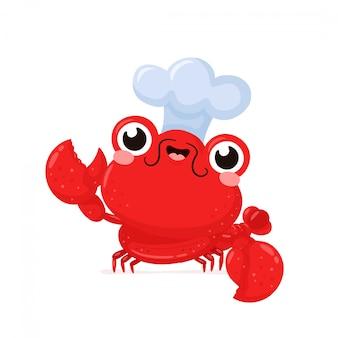 Leuke gelukkige glimlachende zeekreeft in chef-kokhoed