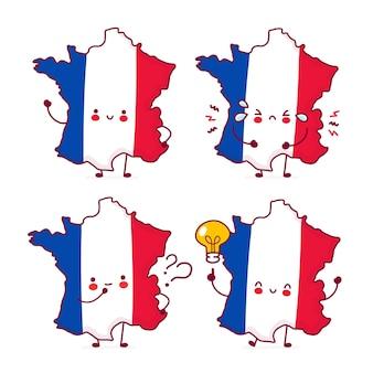 Leuke gelukkige grappige frankrijk kaart en vlag tekenset collectie
