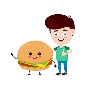 Leuke gelukkige grappige glimlachende jonge man en koffiedocument kop. jongen verschijnt duim. platte stripfiguur pictogram. geïsoleerd op wit. hamburger, vrienden, fastfood café kindermenu