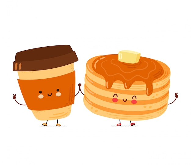 Leuke gelukkige grappige pannenkoeken en koffiekopje. geïsoleerd