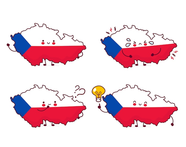 Leuke gelukkige grappige tsjechische republiek kaart en vlag tekenset collectie. platte lijn cartoon kawaii karakter illustratie pictogram. geïsoleerd op witte achtergrond. tsjechische republiek concept
