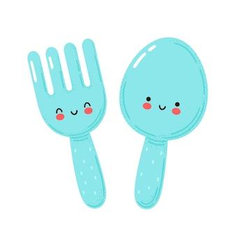 Leuke gelukkige grappige vork en lepel. geïsoleerd op witte achtergrond. cartoon karakter hand getrokken stijl illustratie