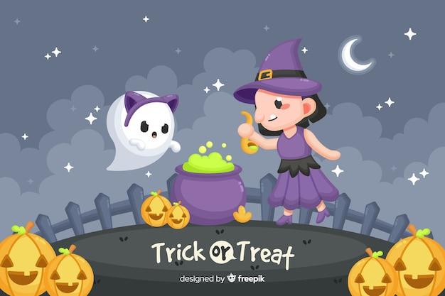Leuke gelukkige halloween decoratieve achtergrond