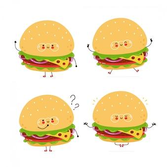 Leuke gelukkige hamburger tekenset