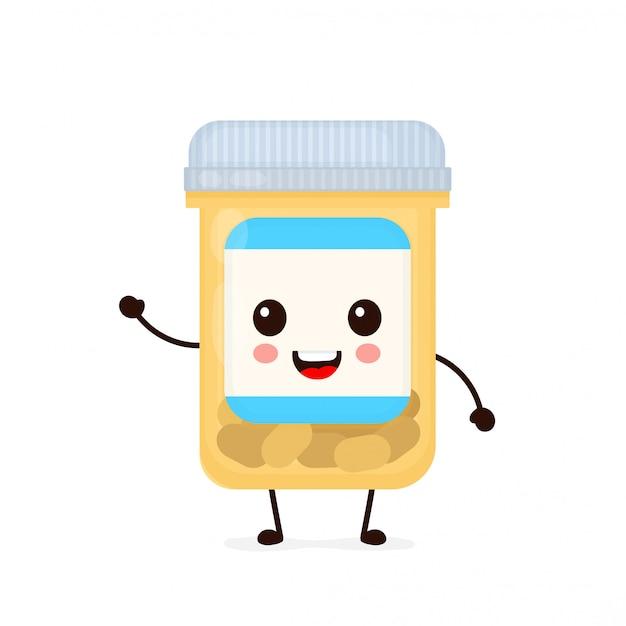 Leuke gelukkige het glimlachen de capsulefles van de geneeskundepil. platte cartoon karakter illustratie pictogram. geïsoleerd op wit. tablet, pil, capsule-antibioticum, gezondheidszorg, medicijnen, medisch