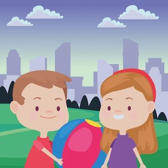 Leuke gelukkige kinderen plezier tekenfilms
