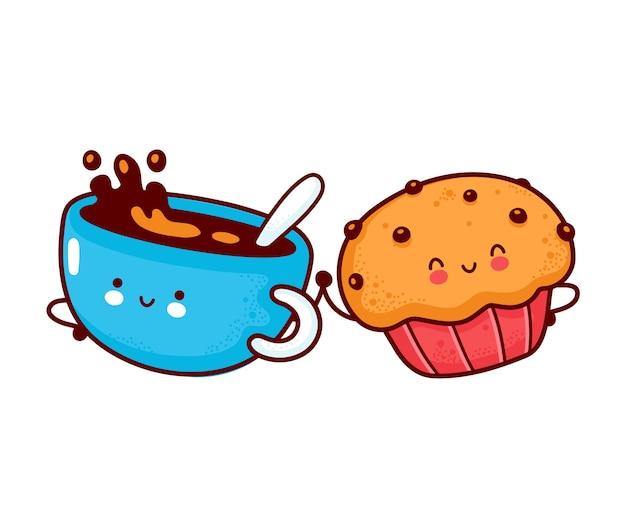 Leuke gelukkige koffiemok en muffincake. platte lijn cartoon kawaii karakter pictogram. hand getrokken stijl illustratie. geïsoleerd op witte achtergrond