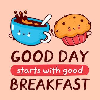 Leuke gelukkige koffiemok en muffincake. stripfiguur kawaii