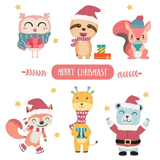 Leuke gelukkige pastelkleur dierlijke merry christmas thema collectie platte vector