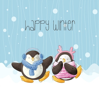 Leuke gelukkige pinguïnillustratie op de sneeuw-vector