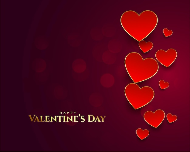Leuke gelukkige valentijnsdag kaart met hartjes achtergrond