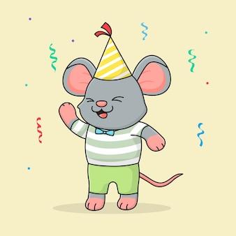 Leuke gelukkige verjaardag muis met hoed