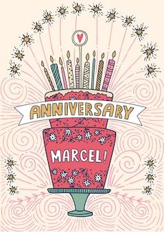 Leuke gelukkige verjaardagscake met kaarsen en vuurwerk. vectorillustratie met plaats voor uw tekst