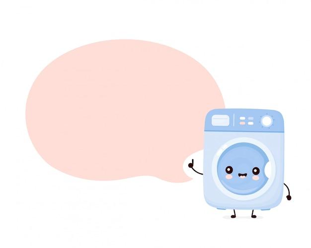 Leuke gelukkige wasmachine met tekstballon.