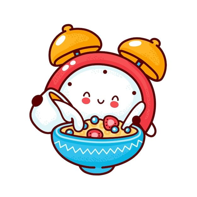 Leuke gelukkige wekker giet melk in ontbijtgranen. platte lijn cartoon kawaii karakter pictogram. hand getrokken stijl illustratie. geïsoleerd op witte achtergrond