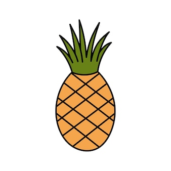 Leuke gestileerde ananas in doodle stijl tropisch fruit eenvoudige illustratie op witte achtergrond