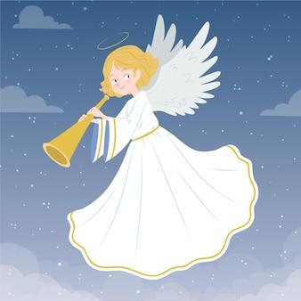 Leuke getekende kerst engel Gratis Vector