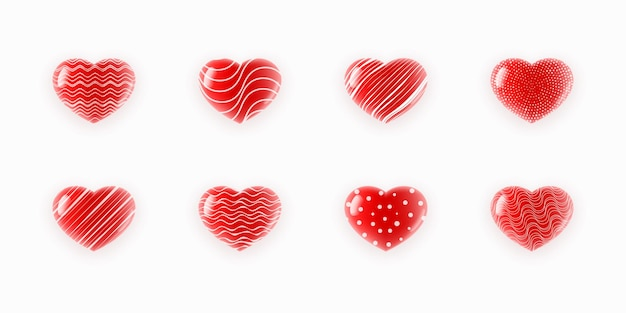 Leuke geweven harten geplaatst illustratie