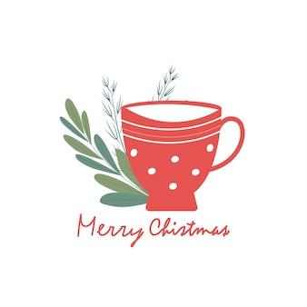 Leuke gezellige ansichtkaart beker met een drankje en een sparren takje. vrolijk kerstfeest belettering. miniatuur ontwerp. vector illustratie
