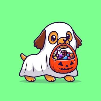 Leuke ghost dog met pompoen halloween cartoon vector pictogram illustratie. dierlijke vakantie pictogram concept geïsoleerd premium vector. platte cartoonstijl
