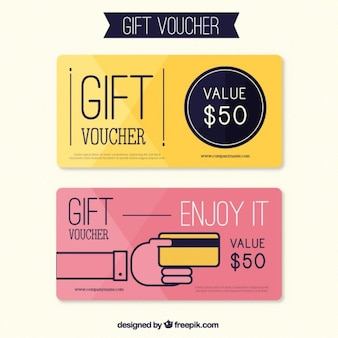 Leuke gift coupons in plat design
