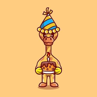 Leuke giraf die gelukkig nieuwjaar of verjaardag viert