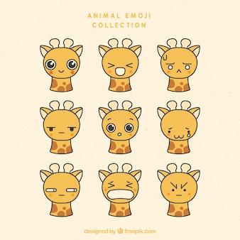 Leuke giraf met verschillende gezichtsuitdrukkingen