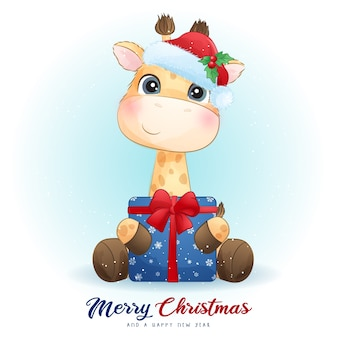 Leuke giraf voor eerste kerstdag met aquarel illustratie