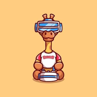 Leuke giraffe gamer speelspel met virtual reality headset