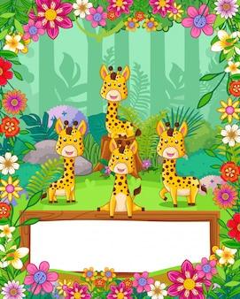 Leuke giraffen met bloemen en houten leeg teken in het bos. vector
