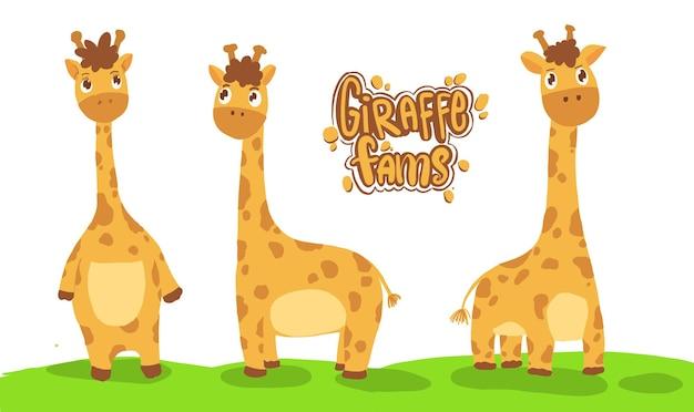Leuke girafillustratie, set van giraf stripfiguur. vector illustratie