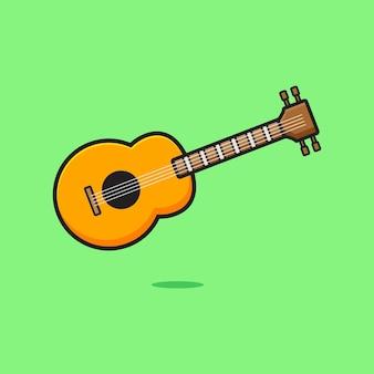 Leuke gitaar cartoon pictogram illustratie. ontwerp geïsoleerde platte cartoonstijl
