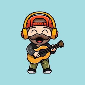Leuke gitarist met koptelefoonillustratie